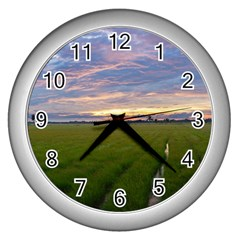 Landscape Sunset Sky Sun Alpha Wall Clocks (silver)  by Nexatart