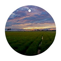 Landscape Sunset Sky Sun Alpha Round Ornament (two Sides)