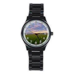 Landscape Sunset Sky Sun Alpha Stainless Steel Round Watch
