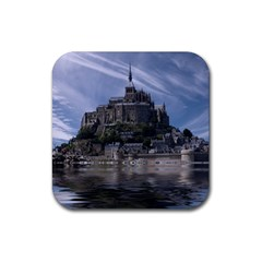 Mont Saint Michel France Normandy Rubber Square Coaster (4 Pack)