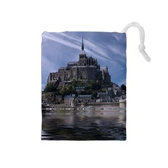 Mont Saint Michel France Normandy Drawstring Pouches (medium)  by Nexatart
