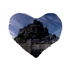 Mont Saint Michel France Normandy Standard 16  Premium Flano Heart Shape Cushions by Nexatart