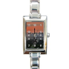 Paris France French Eiffel Tower Rectangle Italian Charm Watch