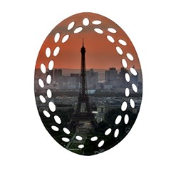 Paris France French Eiffel Tower Oval Filigree Ornament (two Sides)