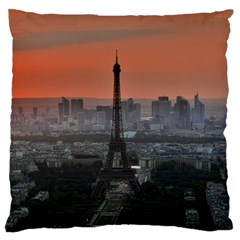 Paris France French Eiffel Tower Large Flano Cushion Case (two Sides) by Nexatart