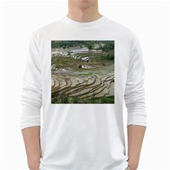 Rice Fields Terraced Terrace White Long Sleeve T Shirts