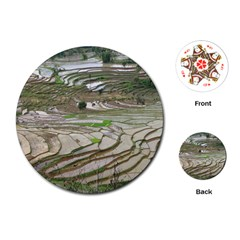 Rice Fields Terraced Terrace Playing Cards (round)  by Nexatart