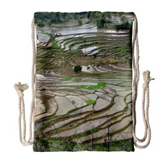 Rice Fields Terraced Terrace Drawstring Bag (large) by Nexatart
