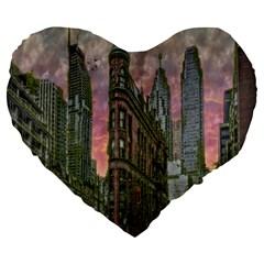 Flat Iron Building Toronto Ontario Large 19  Premium Heart Shape Cushions