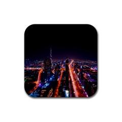 Dubai Cityscape Emirates Travel Rubber Square Coaster (4 Pack)