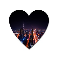 Dubai Cityscape Emirates Travel Heart Magnet by Nexatart