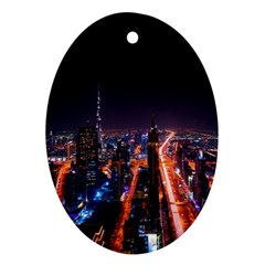 Dubai Cityscape Emirates Travel Oval Ornament (two Sides) by Nexatart