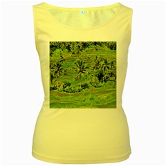 Greenery Paddy Fields Rice Crops Women s Yellow Tank Top