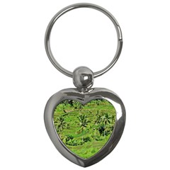 Greenery Paddy Fields Rice Crops Key Chains (heart)