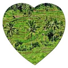 Greenery Paddy Fields Rice Crops Jigsaw Puzzle (Heart)