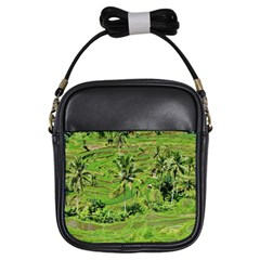 Greenery Paddy Fields Rice Crops Girls Sling Bags