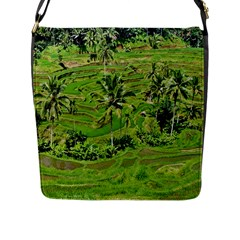 Greenery Paddy Fields Rice Crops Flap Messenger Bag (l)  by Nexatart