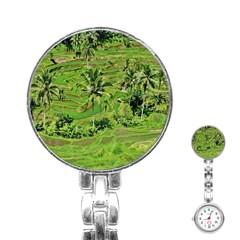 Greenery Paddy Fields Rice Crops Stainless Steel Nurses Watch