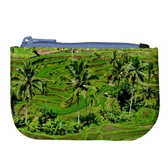 Greenery Paddy Fields Rice Crops Large Coin Purse