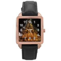 Dresden Frauenkirche Church Saxony Rose Gold Leather Watch
