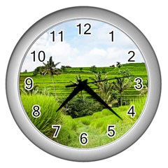 Bali Rice Terraces Landscape Rice Wall Clocks (silver)  by Nexatart
