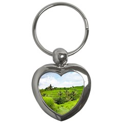 Bali Rice Terraces Landscape Rice Key Chains (heart)