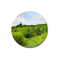 Bali Rice Terraces Landscape Rice Rubber Round Coaster (4 Pack)