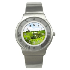 Bali Rice Terraces Landscape Rice Stainless Steel Watch
