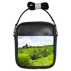 Bali Rice Terraces Landscape Rice Girls Sling Bags by Nexatart