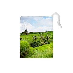 Bali Rice Terraces Landscape Rice Drawstring Pouches (small)