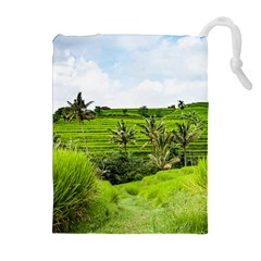 Bali Rice Terraces Landscape Rice Drawstring Pouches (extra Large)
