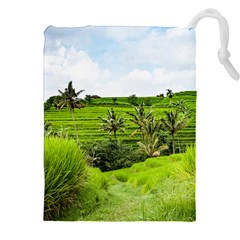 Bali Rice Terraces Landscape Rice Drawstring Pouches (xxl) by Nexatart