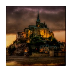 Mont St Michel Sunset Island Church Tile Coasters