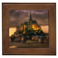 Mont St Michel Sunset Island Church Framed Tiles
