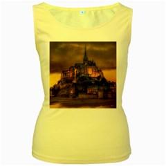 Mont St Michel Sunset Island Church Women s Yellow Tank Top