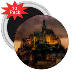 Mont St Michel Sunset Island Church 3  Magnets (10 Pack)