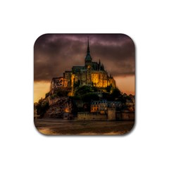 Mont St Michel Sunset Island Church Rubber Square Coaster (4 Pack)  by Nexatart