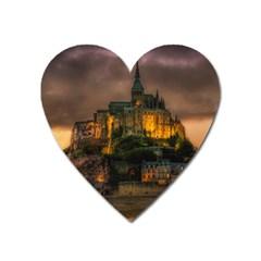 Mont St Michel Sunset Island Church Heart Magnet