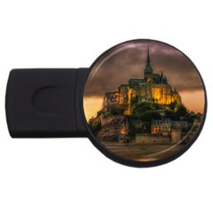 Mont St Michel Sunset Island Church Usb Flash Drive Round (2 Gb) by Nexatart