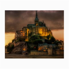 Mont St Michel Sunset Island Church Small Glasses Cloth