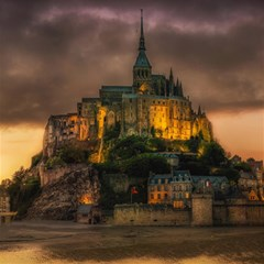 Mont St Michel Sunset Island Church Canvas 12  X 12   by Nexatart
