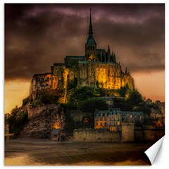 Mont St Michel Sunset Island Church Canvas 16  X 16