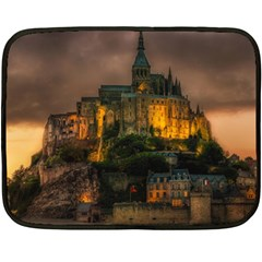 Mont St Michel Sunset Island Church Double Sided Fleece Blanket (mini)  by Nexatart