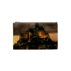 Mont St Michel Sunset Island Church Cosmetic Bag (small)  by Nexatart