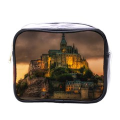 Mont St Michel Sunset Island Church Mini Toiletries Bags