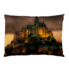 Mont St Michel Sunset Island Church Pillow Case (two Sides)