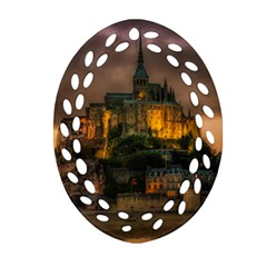 Mont St Michel Sunset Island Church Oval Filigree Ornament (two Sides) by Nexatart