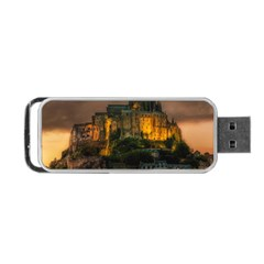 Mont St Michel Sunset Island Church Portable Usb Flash (one Side)