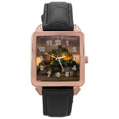 Mont St Michel Sunset Island Church Rose Gold Leather Watch