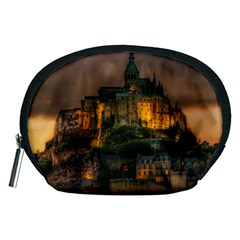 Mont St Michel Sunset Island Church Accessory Pouches (medium)